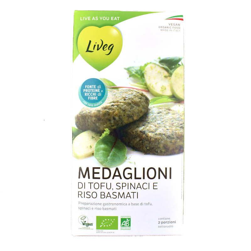 Medaglioni di tofu, spinaci e riso (Liveg)